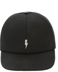 Neil Barrett Bolt Leather Baseball Hat W Embroidery