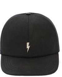 Neil Barrett Bolt Leather Baseball Hat W Embroidery