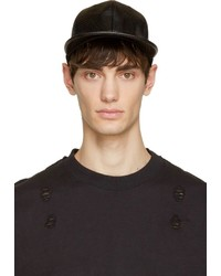 D by d black perforated leather look cap medium 238042