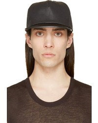 Rick Owens Drkshdw Black Leather Brim Baseball Cap