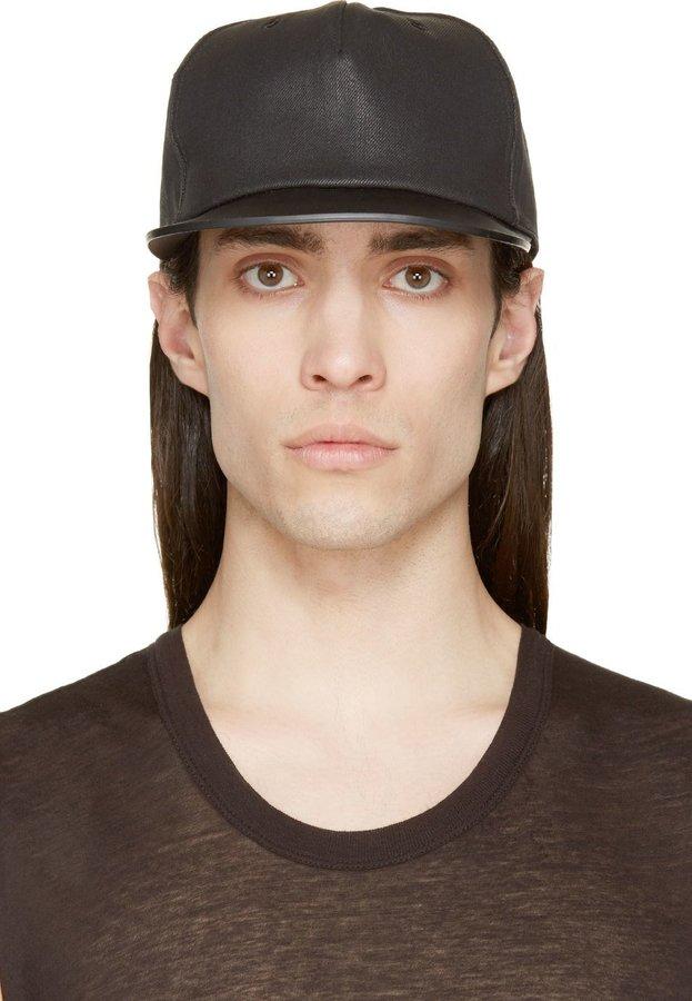 ... Rick Owens Drkshdw Black Leather Brim Baseball Cap ... 26d5c27c40d1