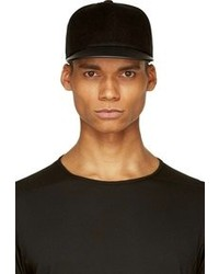 Rick Owens Drkshdw Black Leather Velvet Baseball Cap