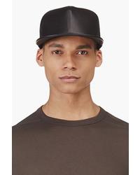 Drkshdw black stone wash leather baseball cap medium 28887