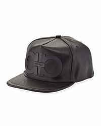Salvatore Ferragamo Gancini Faux Leather Baseball Cap Black