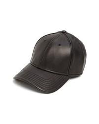 Gents Leather Baseball Cap Black One Size
