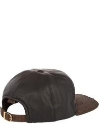 Just Don Leather Python Baseball Cap Black