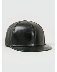 Topman Richie Culver Leather Look Snapback Cap