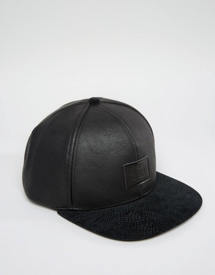 ... Asos Snapback Cap With Black Faux Leather Crown ... e0e2653dd02