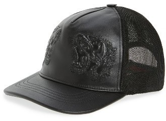 7aa591ba08b ... Gucci Tiger Leather Baseball Cap Black ...