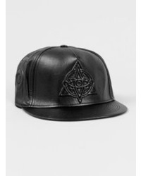 Topman Black Leather Look Snapback Cap