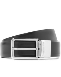 Ermenegildo Zegna 3cm Black And Dark Brown Reversible Leather Belt