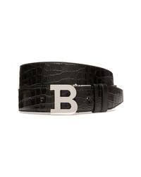 Bally B Embossed Leather Belt