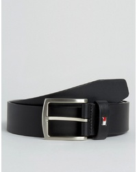 Tommy Hilfiger Denton Flag Logo Leather Belt In Black
