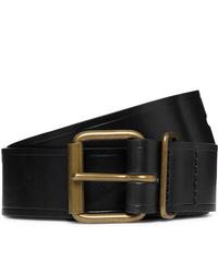 Bleu de Chauffe Fred 4cm Black Leather Belt