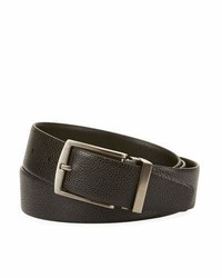 Giorgio Armani Grained Calf Leather Belt Black