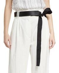 Grosgrain tie leather belt black medium 950266