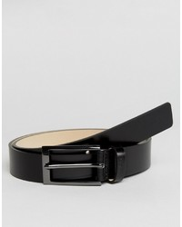 Hugo Boss Hugo By Leather And Gunmetal Belt Black