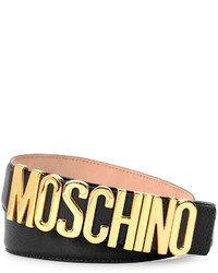 Moschino Large Logo Adjustable Leather Belt Blackgold