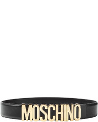 Moschino Leather Belt With Logo Buckle