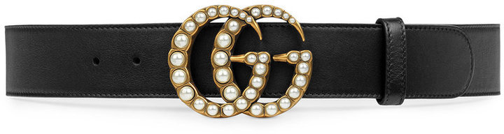 Gucci Leather Belt With Pearl Double G