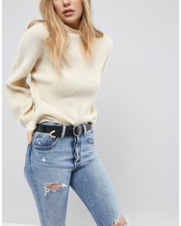 ASOS DESIGN Leather Circle Jeans Belt With Tipped End