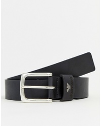 Emporio Armani Leather Logo Keeper Belt In Black