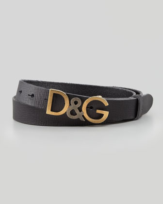 Dolce & Gabbana Leather Logo Letters Belt Black