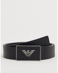 Emporio Armani Leather Plaque Belt In Black