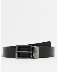 Emporio Armani Leather Reversible Logo Keeper Belt In Black