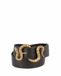 Gucci Leather Snake Buckle Belt