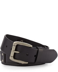 Will Leather Goods Leather Woven Belt Black
