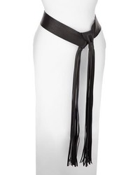 Michael Kors Michl Kors Leather Tassel Tie Belt Black