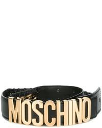 Moschino Logo Plaque Whipstitch Belt