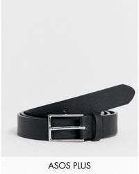 ASOS DESIGN Plus Smart Faux Leather Slim Belt In Black