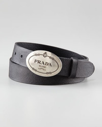Prada Printed Buckle Saffiano Leather Belt Black