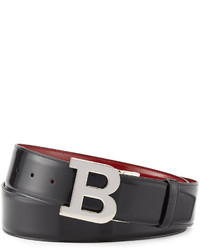Reversible leather b buckle belt blackred medium 589937