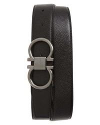 Salvatore Ferragamo Reversible Pebbled Calfskin Belt