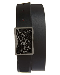 Christian Louboutin Ricky Logo Crystal Leather Belt