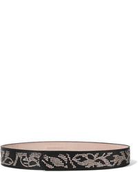 Alexander McQueen Sequined Leather Belt Black