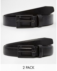 Asos Smart Belt In Faux Leather And Snakeskin 2 Pack