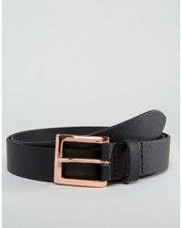Asos Smart Leather Belt With Rose Gold Buckle