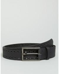 Asos Smart Slim Leather Belt In Black With Brogue Detail