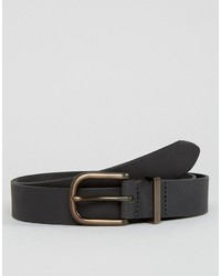 Asos Smart Slim Leather Belt With Copper Keeper In Black