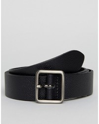 Asos Smart Slim Leather Belt With Square Buckle In Black