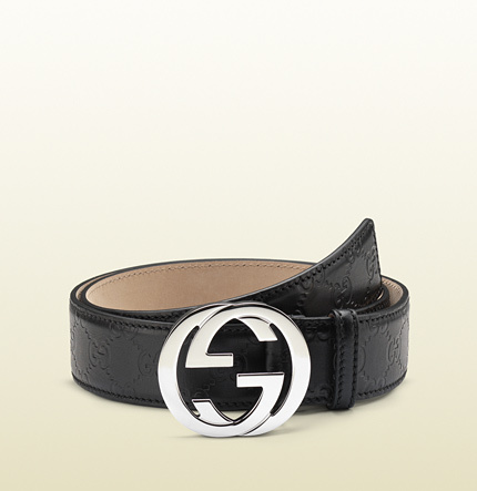 60ffff74d61 ... Gucci Ssima Leather Belt With Interlocking G Buckle ...