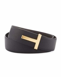 Tom Ford T Buckle Reversible Leather Belt Black