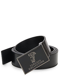 Versace Logo Buckle Leather Belt