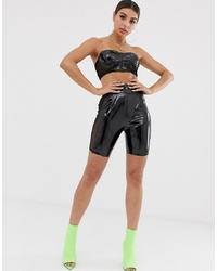 NaaNaa Legging Short In Vinyl With Mesh Insert In Black