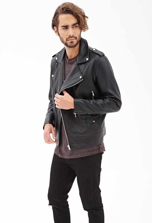 30465f140 $39, 21men 21 Faux Leather Moto Jacket