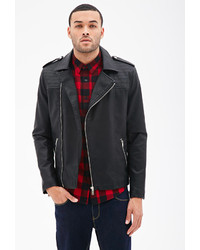 21men 21 Quilted Faux Leather Moto Jacket